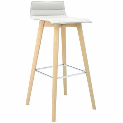 Tall bistro stool with cream fabric and wooden legs