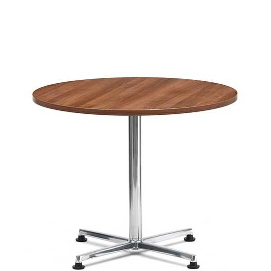 Circular coffee table with wooden top and chrome 4 star base
