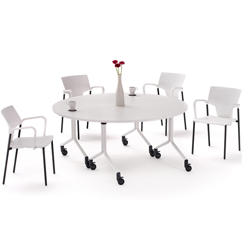 White flip-top tables with white chairs