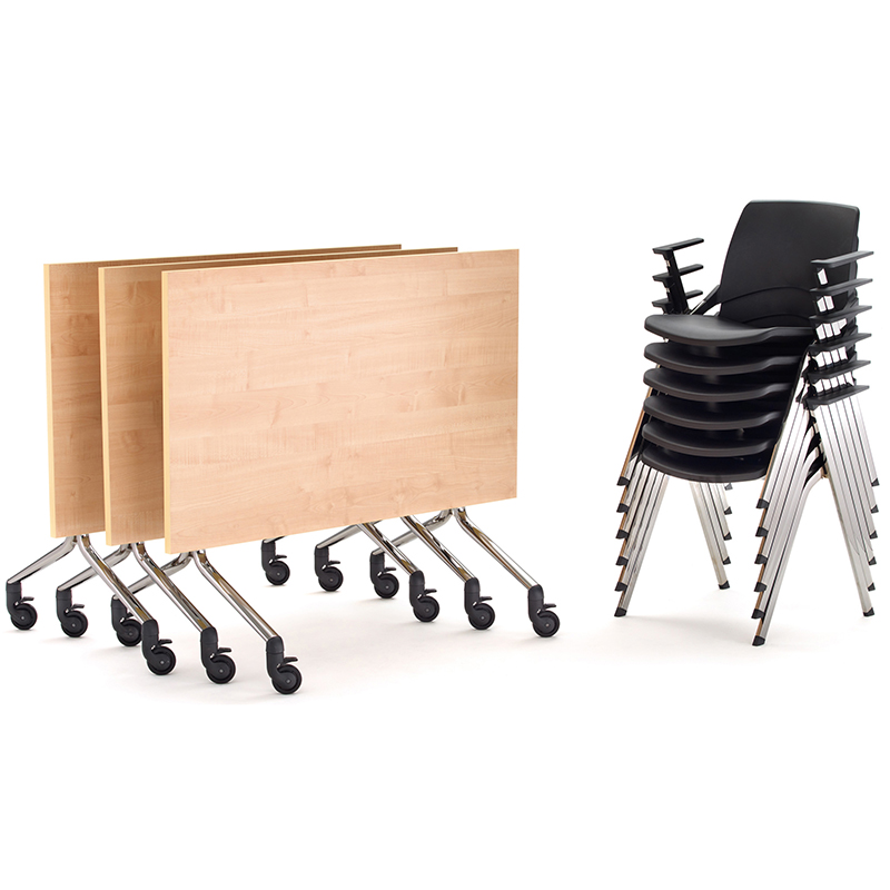 3 meeting tables and a stack of 6 black chairs