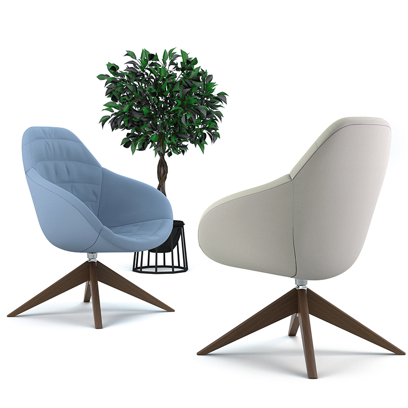 Two tub chairs - one white and one blue