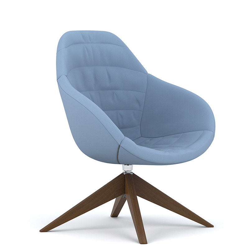 Blue tub chair with swivel base