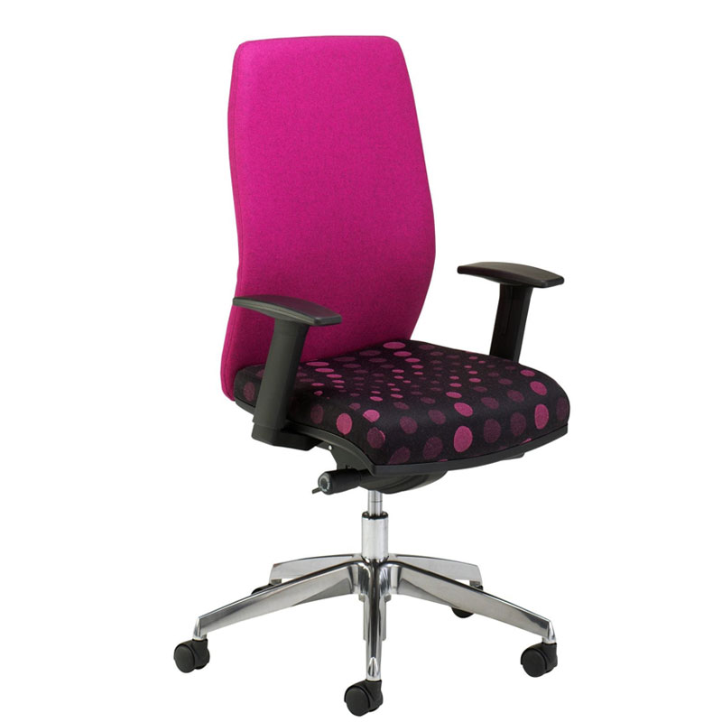 Wheeled desk chair with bright pink back and pink and black patterend seat