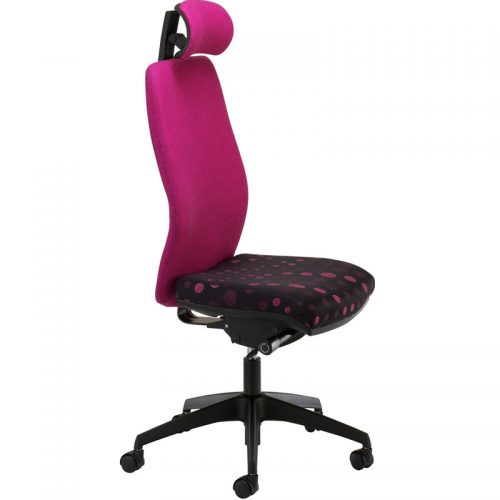 Desk chair with bright pink back and headrest, and pink and black patterned seat