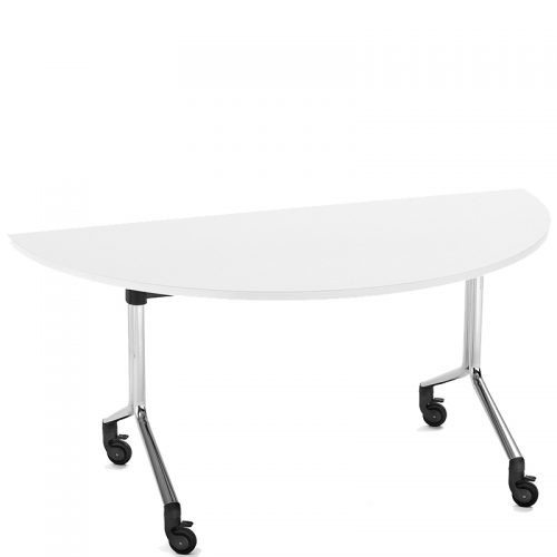 Semi circular white folding table
