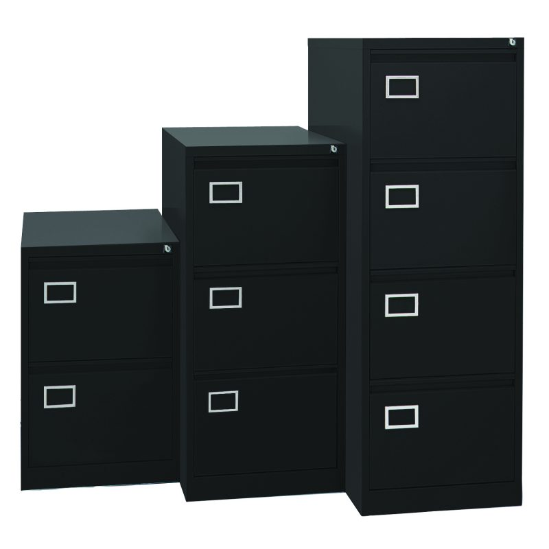 3 black filing cabinets in differing heights