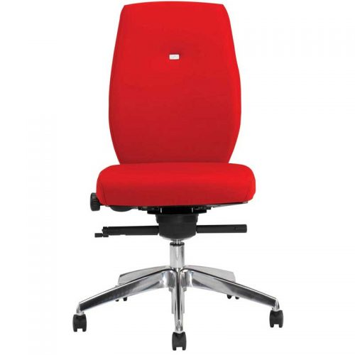 Desk chair with red seat and back, and chrome base