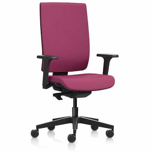 Pink desk chair with high back and swivel base
