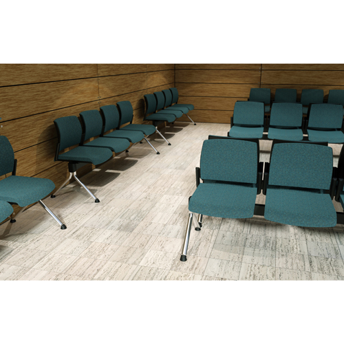 Blue beam seating in a waiting area