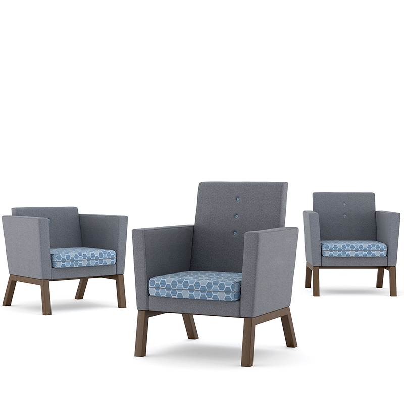 Three armchairs with blue geometric patterned seats and grey backs and sides