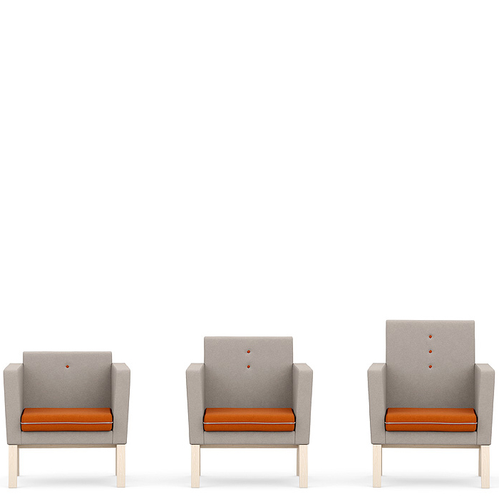 3 armchairs with orange seats and grey backs
