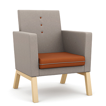 High backed armchair with orange seat and grey back and sides