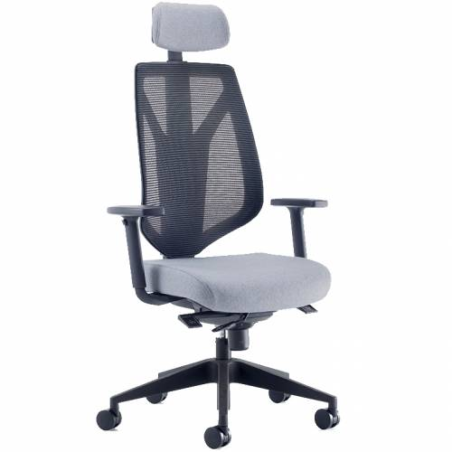 Swivel chair with grey seat and headrest, and black mesh back