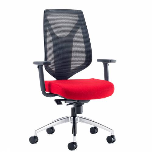 Swivel chair with red seat and black mesh back