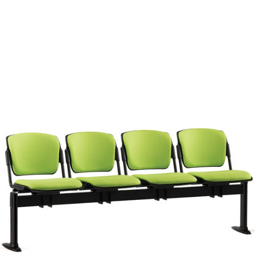 Four lime green seats on a black beam
