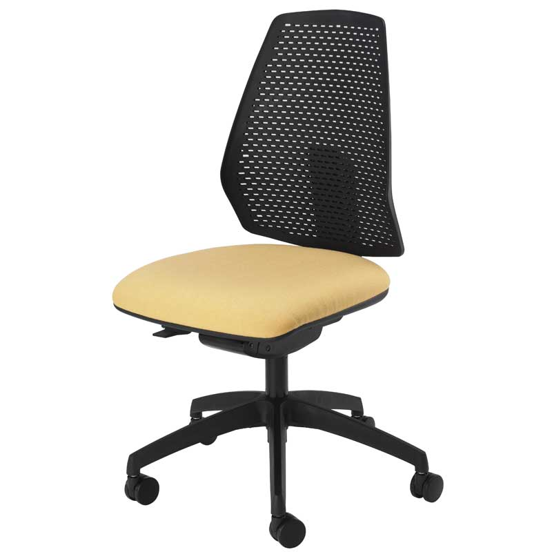 Desk chair with pale yellow seat and black mesh back