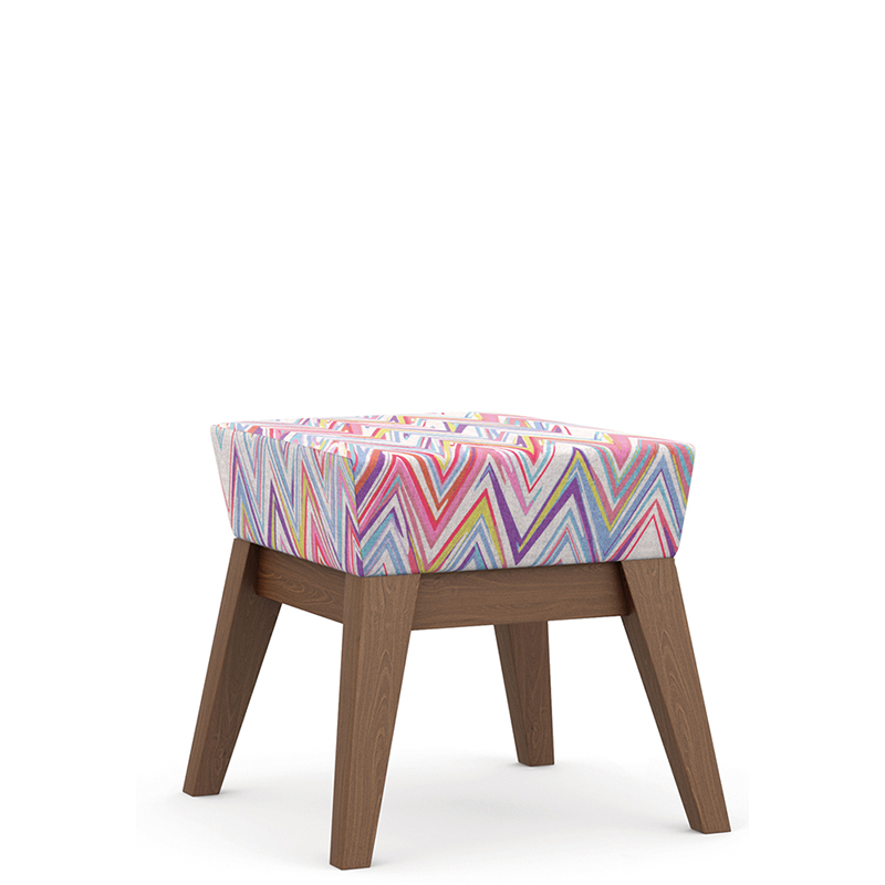 Patterned stool with wooden legs