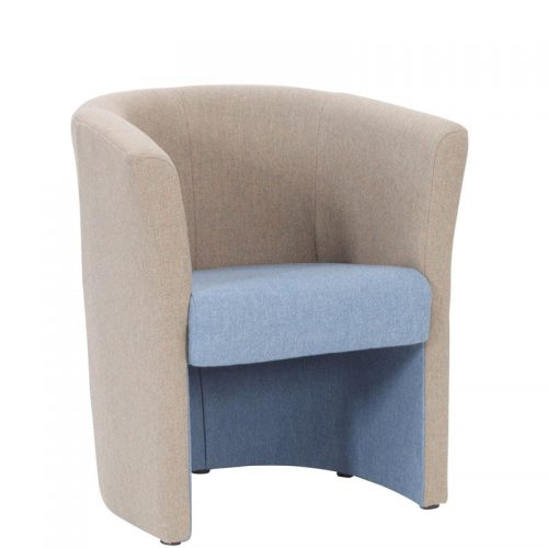 Armchair with blue seat and beige rounded back and sides