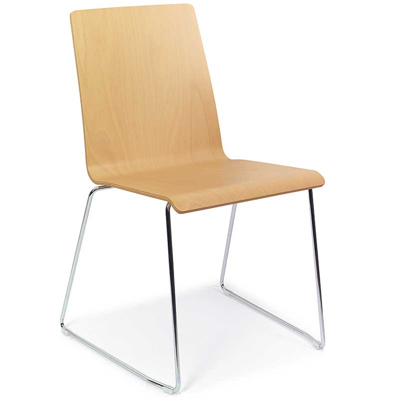 Wooden chair with chrome base