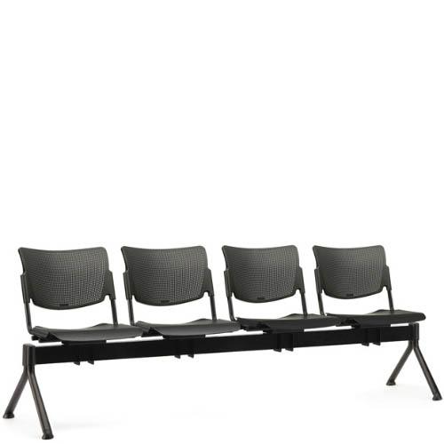 Four black seats on a black beam