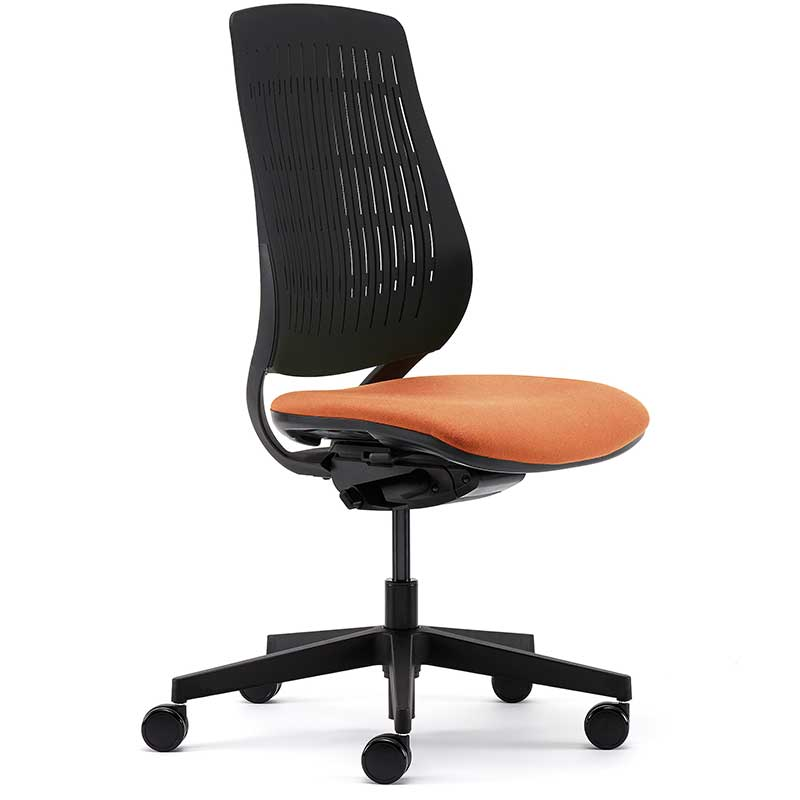 Swivel chair with orange seat, black back and black base