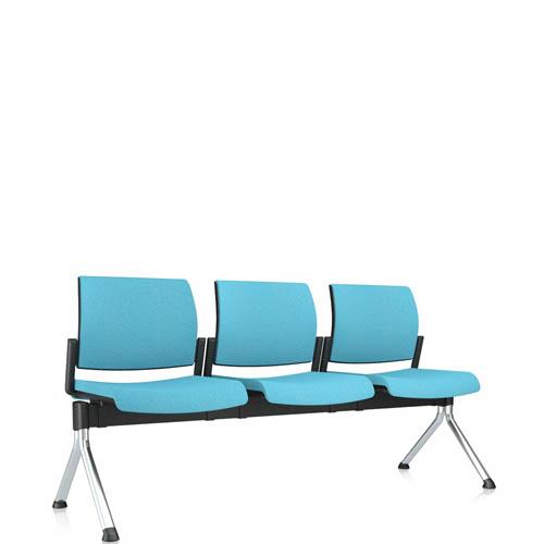 Blue three seater beam seating