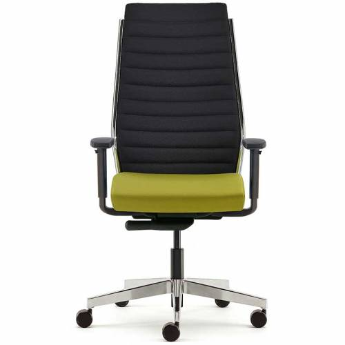 Meeting chair with lime green cushioned seat, black mesh back and chrome base