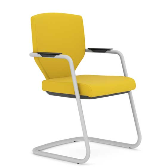 Yellow office chair with cantilever base