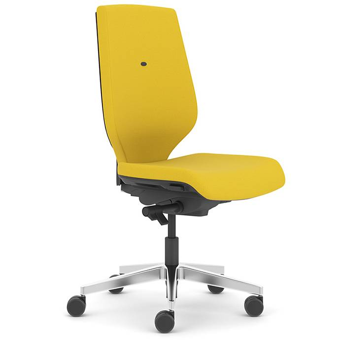 Yellow desk chair with swivel base