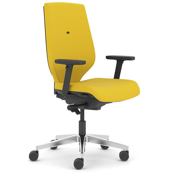Yellow desk chair with black arms and chrome swivel base