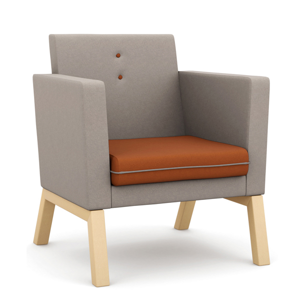 Medium backed armchair with orange seat and grey back and sides