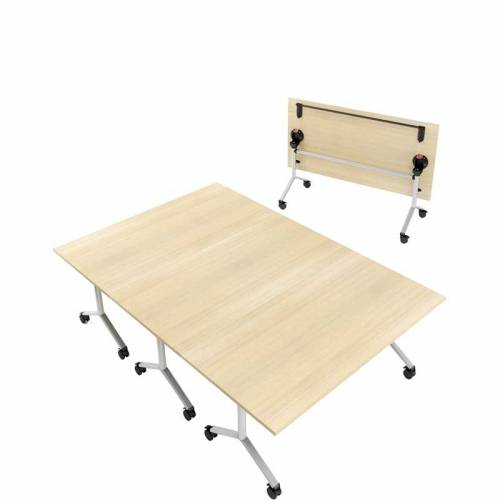 Flip top meeting table with light wooden top