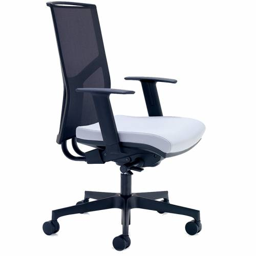 Swivel chair with white seat and black mesh back