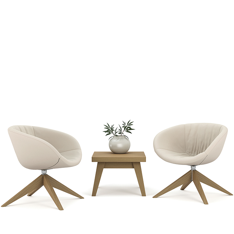 Ripple swivel tub chairs with wooden base