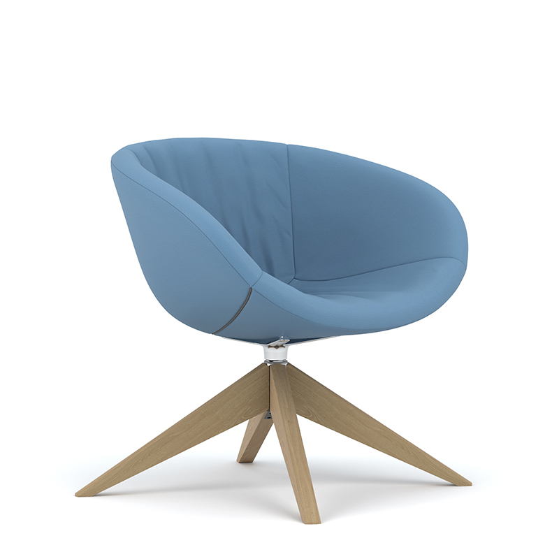 Ripple swivel tub chair with wooden base
