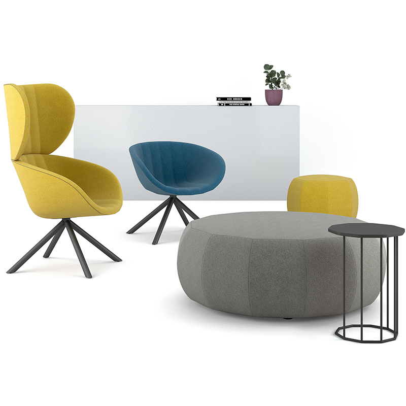 Breakout seating with large yellow chair, small blue chair, large grey pouff and small yellow pouff