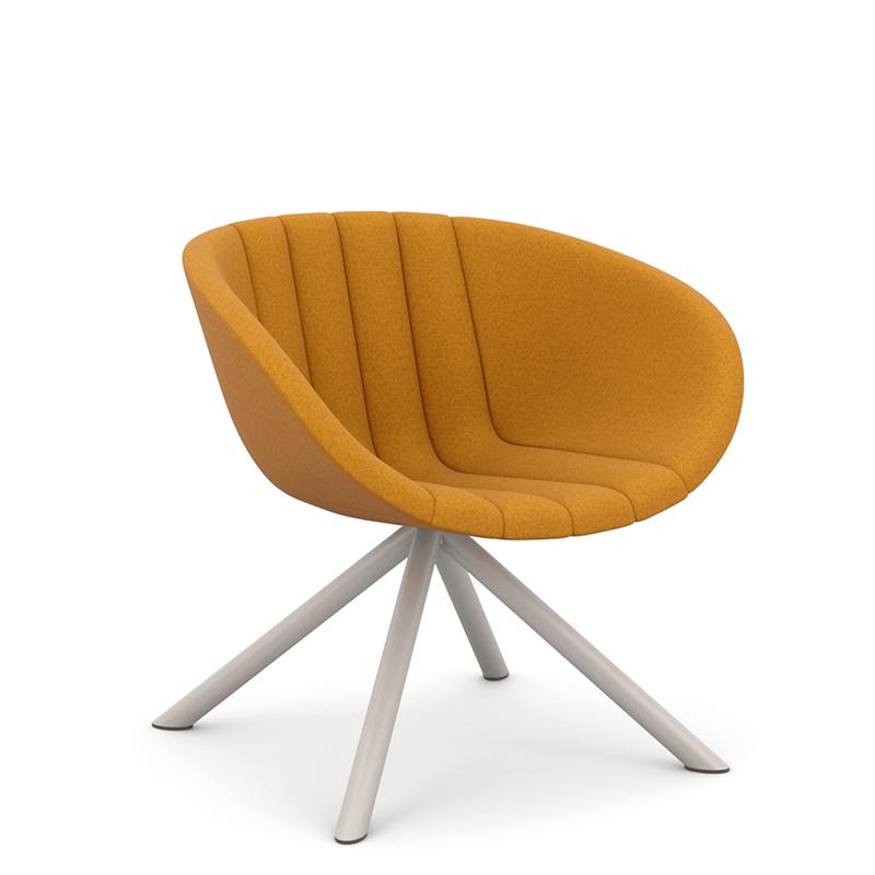 Orange tub chair with white legs