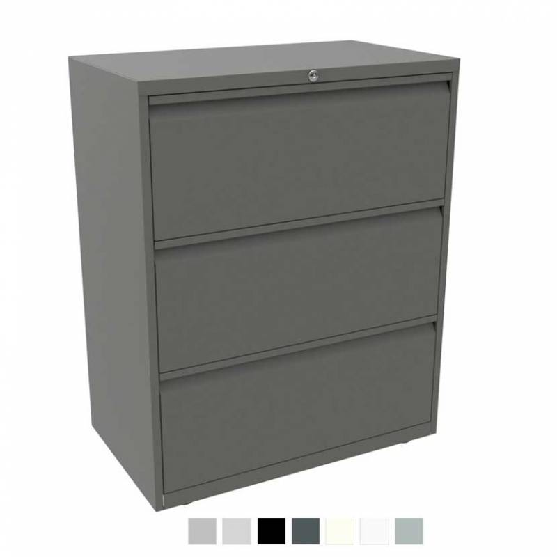 Grey filing cabinet with 3 drawers