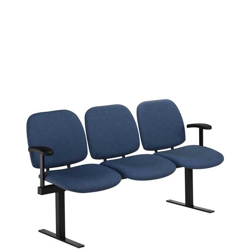Row of three dark blue seats on a black beam