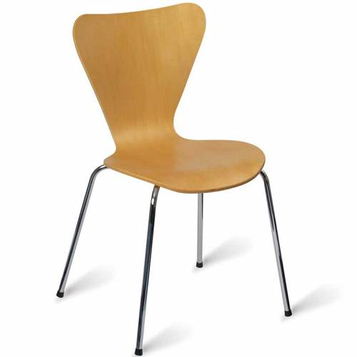 Light wooden cafe chair with chrome legs