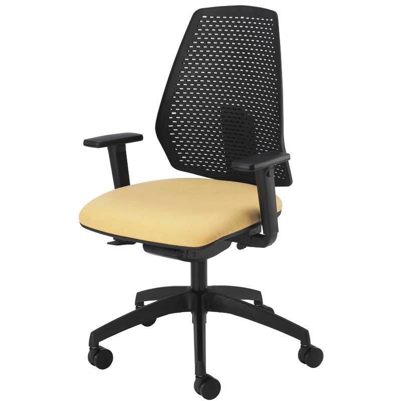 Desk chair with pale yellow seat, black mesh back and black arms