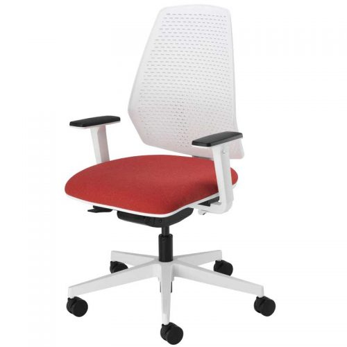 Desk chair with red seat, white back, black arms