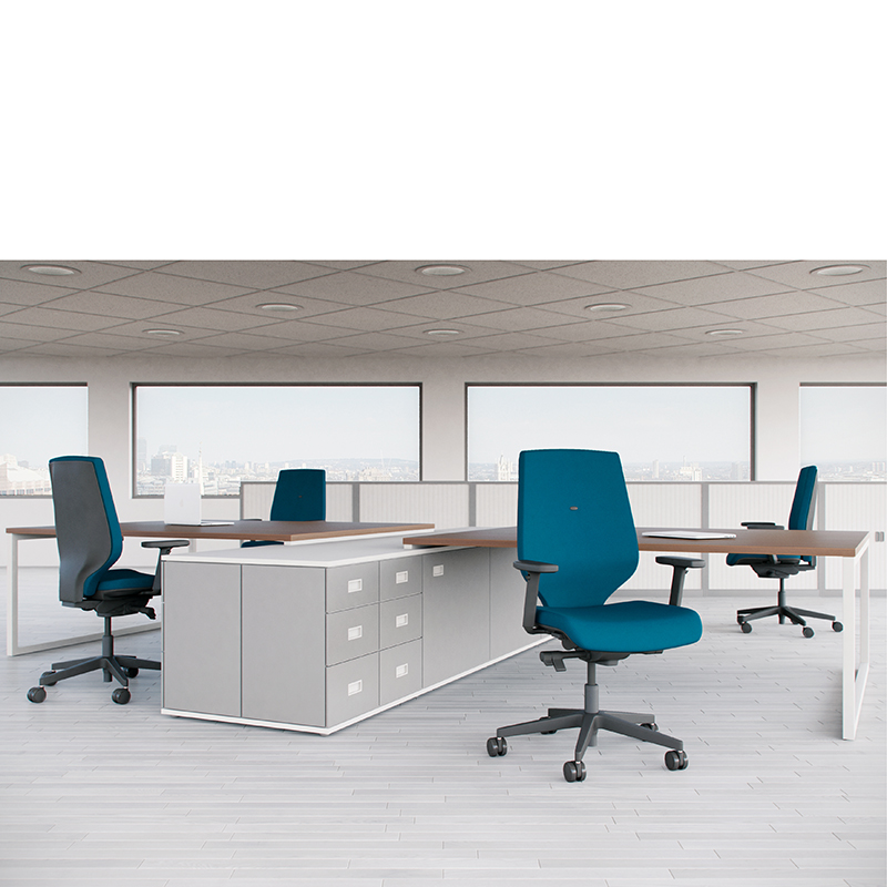 Office setting with brown desks, grey storage and blue swivel chairs