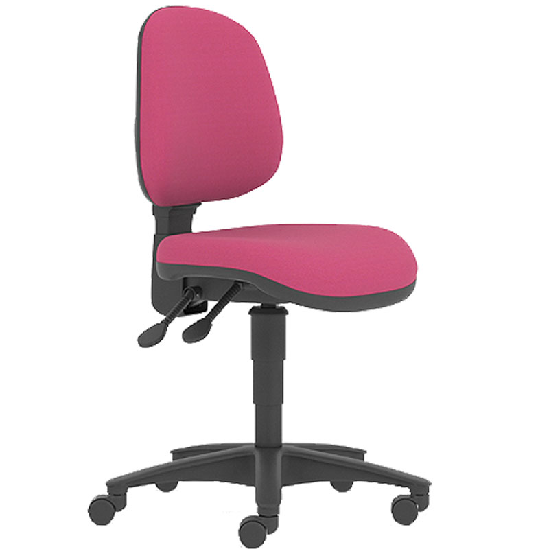 Pink swivel chair with black base