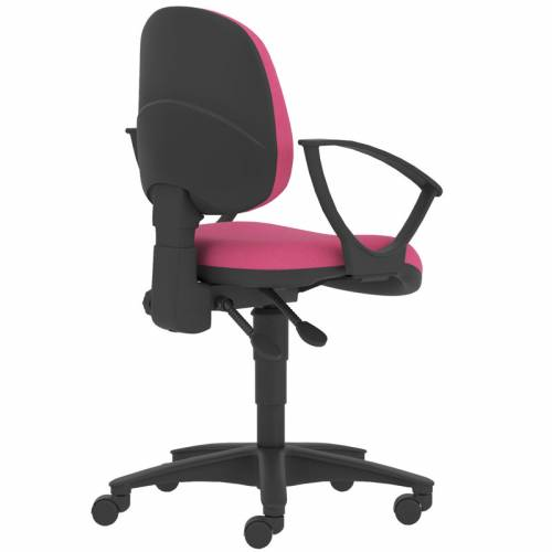 Pink swivel chair with black base and arms