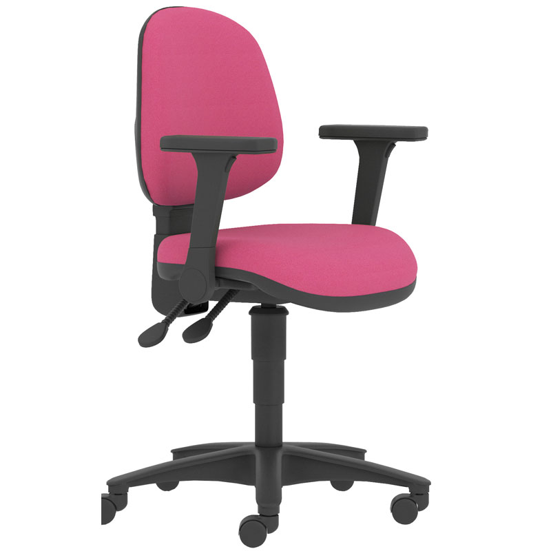 Pink swivel chair with black arms and black base