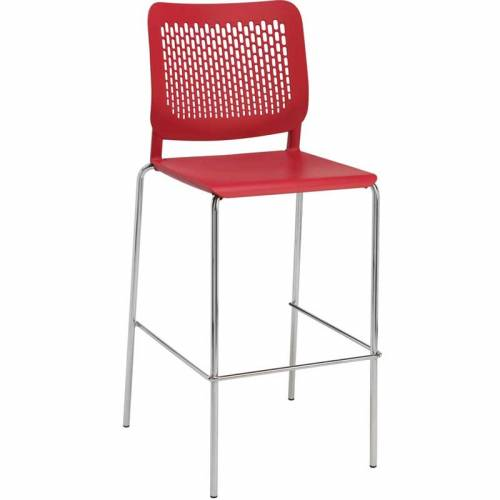 Stackable red stool with red back and chrome legs