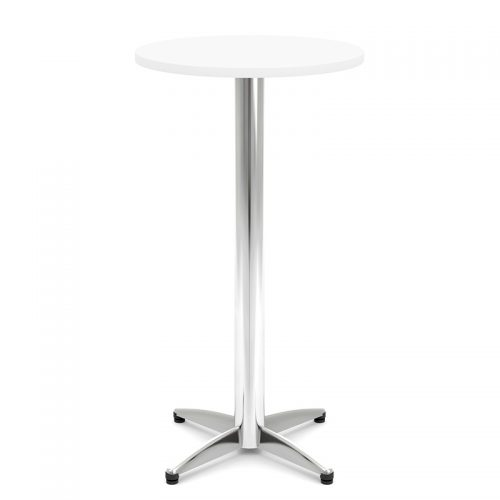 High white bistro table with chrome base