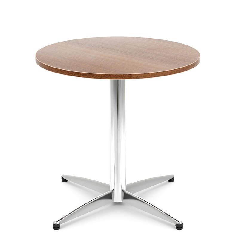 Circular coffee table with chrome legs