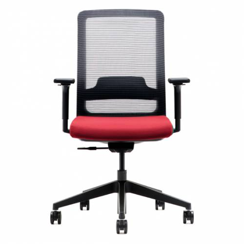 Office chair with red seat, black mesh back and black base